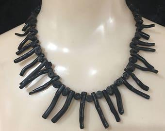 Vintage Antipatharia Black Branch Coral Necklace