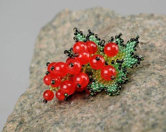 Sister gift birthday fruit jewelry Berries jewelry boho brooch Bead Berries jewelry boho berry Bead Berries jewelry Red Currant pendant