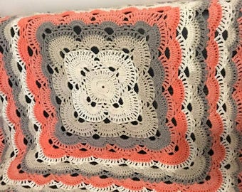 Crochet Blanket, Crochet Blanket,knitted blanket,peach crochet, A H Baby Boutique, Baby Shower Gift, Knit, Pram Blanket, Bassinet Blanket