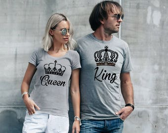 His and her King and Queen matching sport grey T-shirts.