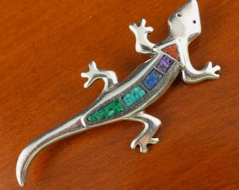 Sterling Silver Inlay Brooch, Vintage Carolyn Pollack 925 Silver Lizard Brooch With Inlay, Sterling Silver Lizard Pin