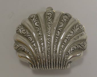 Antique English Sterling Silver Shell Shaped Coin Purse - 1882