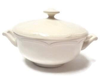 White porcelain soup tureen , shabby tureen , romantic soup tureen , vintage porcelain , 50s
