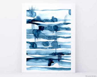 The Mirror Lake, blue art, blue abstract, watercolor print, indigo poster, blue painting, blue modern abstract, minimalist print