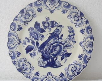 Antique Delft Blue Wall Plate, Bird and Flower Decor, DK Factory, Handpainted, Holland