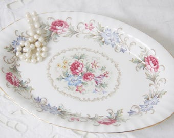 Vintage Paragon Chatelaine Oval Tray, Creamer Set Tray, Candy Tray, Pink Roses and Blue Flower Decor, England