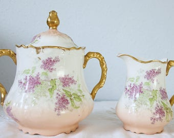 Antique Limoges Porcelain Creamer and Sugar Set, Gradient Salmon Pink with Handpainted Purple Flower Pattern, France