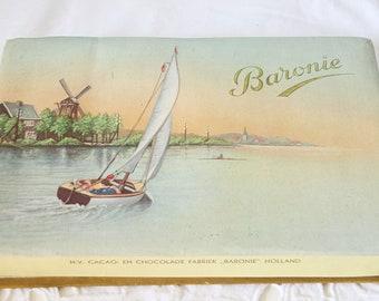 Vintage Cardboard Chocolate Box , Dutch Decor, Landscape Decor, Baronie, Holland