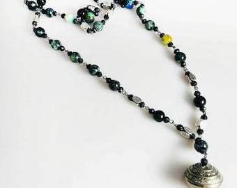 Handmade Chrysocolla Onyx Necklace With Silver Beads