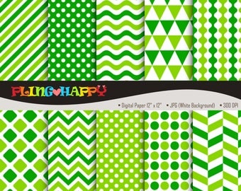 70% OFF Green Color Set Digital Papers, Chevron/Polka Dot/Wave/Stripe Pattern Graphics, Personal & Small Commercial Use, Instant Download