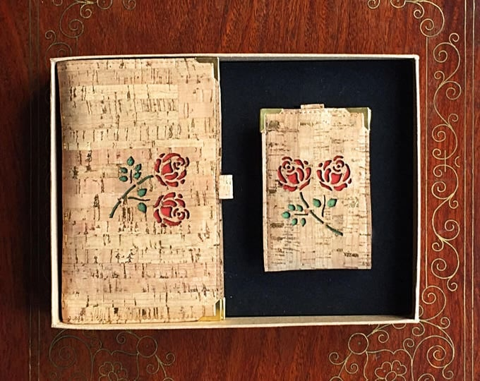 Pair of vegan cork leather wallets/large wallet with 10 card slots and two cash pouches/small wallet with 4 card slots/red rose design