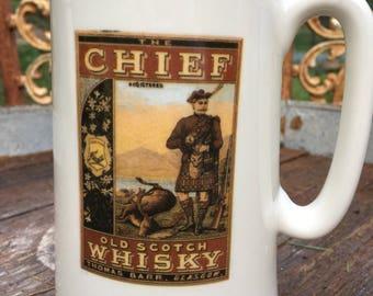 Vintage Large Staffordshire Mug-Staffordshire Pottery-Large Stag Mug Stein-Vintage Mug-Deer Hunters Mug-Hunters Mug-ManCave