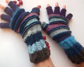 Men Size M 20% OFF Half Fingers OOAK Mittens Multicolor Hand Knitted Gloves Striped Women Warm Accessories Unisex Wrist Warmers Winter 1265