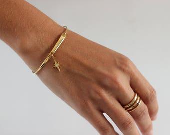 Pole Star bracelet, pole star bangle, pole star gold bracelet, constelation bracelet, north star bracelet, bangle with Pole Star cut