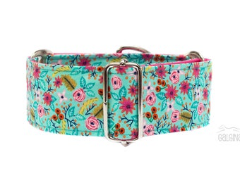 """Spring garden, dog collar, liberty, flower, floral, turquoise, pink, cute, girlish, female, 2"""" martingale, 1.4"""" martingale, 1"""" martingale"""
