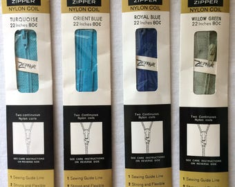 """Your Choice: Vintage New Talon Neckline Zipper 22"""" Nylon Coil in Turquoise, Orient Blue, Royal Blue, or Willow Green"""