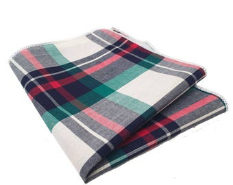 Green, White, Red and Navy Blue Plaid Pocket Square