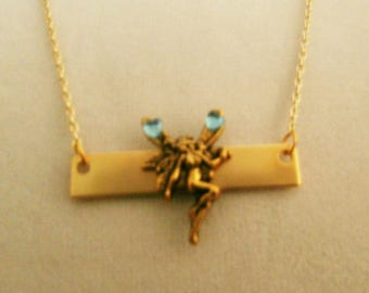 Beautiful Gold plated bar and Fairy  necklace