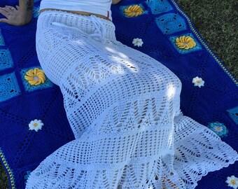 Lacy crochet maxi skirt