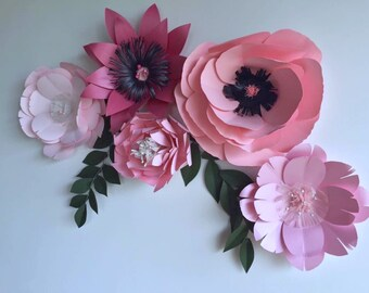Baby shower party decor pink paper flowers pink wedding decor pink backdrop nursery decor baby girl nursery pink flower wall decor dining