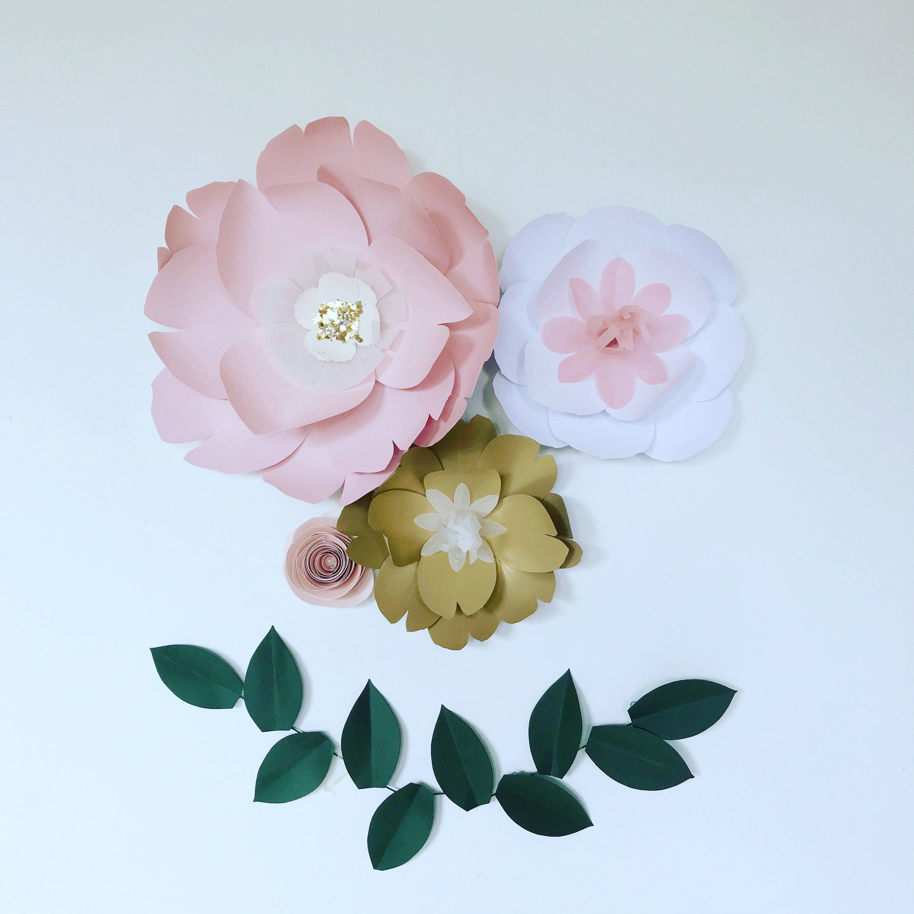 Large Paper Flowers Wall Decor, Floral Wall Art, Giant Pink / Gold / White