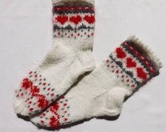Handknitted socks Mohair socks Womens socks Wool socks White socks Socks size 7-7,5 US/39EU