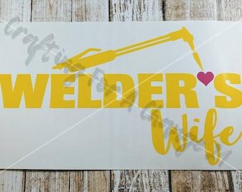 Welder's Wife Vinyl Decal, Welder's Wife Decal, Welder's Wife, Welder Decal, Welding Decal, Welder, Welding, Car Decal, Vinyl Decal, Decal