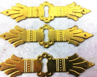 Set of 3 Brass Key Hole Plates Keyhole Brass Escutcheon Lock Furniture Vintage Door Accesoires Vintage Keyhole