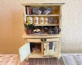 Dollhouse Miniature Yellow and Gray Hutch