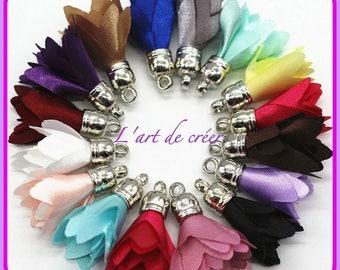 Lot de 10 FLEURS POMPONS gland pampille  , imitation soie , multicolore , argenté