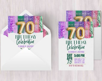 Seventieth Invite | Seventieth Birthday, 70th Birthday Poster, 70th Birthday Card, 70th Invitation, Metallic Invitation, Brush Strokes