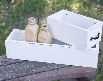 Wooden Box - center piece -  succulent holder-mason jar-weddings-Rustic-window box
