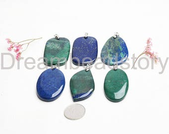 Large Size Blue Lapis/ Green Phoenix Lapis Gemstone Rectangle/ Oval/ Water Dropped Pendant Beads (JDY334)