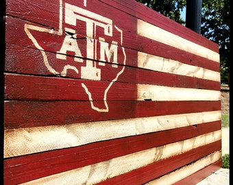 Rustic Texas A&M University Flag, Aggies