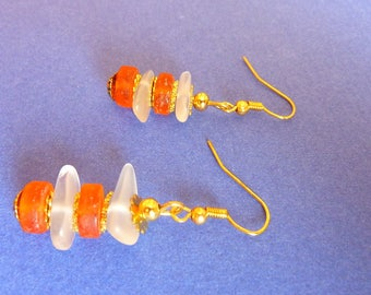 Tangerine and white sea beach frosted glass earrings