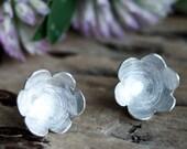 Little Flower Sterling Silver Earrings- Stud Earrings. Flower Earrings. Nature Earrings. Dapped Earrings.