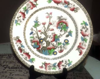 Vintage (c. late 1970s) Johnson Brothers Indian Tree luncheon | large salad plate. Chinoiserie, greek key band.
