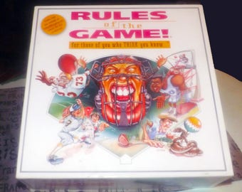 Vintage (c.1995) Rules of the Game sports trivia board game published by Game Technologies | Poole Enterprises. Incomplete (see below).