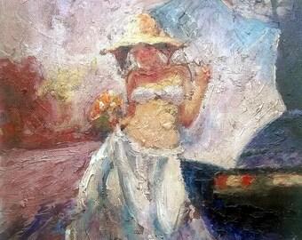 Girl with sun umbrela - Acrylic on canvas laid on masonite