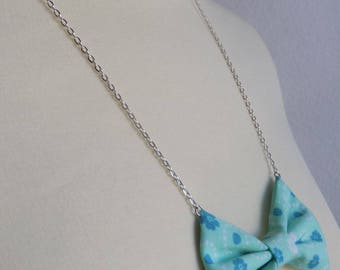 Necklace chain blue liberty fabric bow