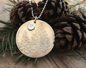 Pine Tree and Moon Necklace, Mixed Metals, Etched Pine Trees and Hand Cut Moon Necklace
