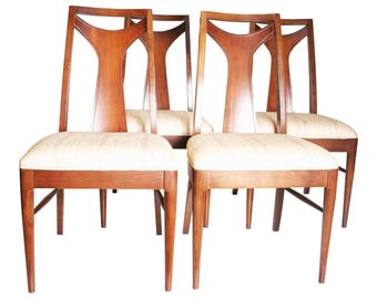 4 Vintage CHAIR SET Danish Modern wood upholstered mid century dining single back walnut lot 60s eames mcm cloth beige brasilia style