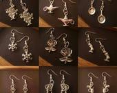 Pretty disney inspired silver plated drop hook earrings - Tangled / Frozen / Sleeping Beauty / Alice in Wonderland