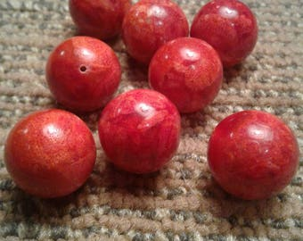Red Sponge Coral Beads? Large Round, 18mms ~ 8 beads total in this set