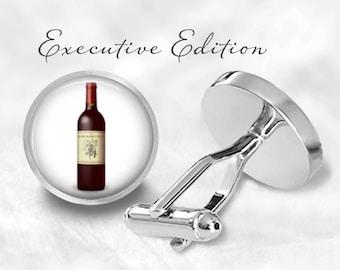 French Wine Cufflinks - Merlot Cufflinks - Vino Cufflinks - Red Wine Cuff Links - Wine Bottle Cufflink (Pair) Lifetime Guarantee (S0977)