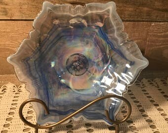 Gasoline Glass Blue and White Art Glass Candy Dish