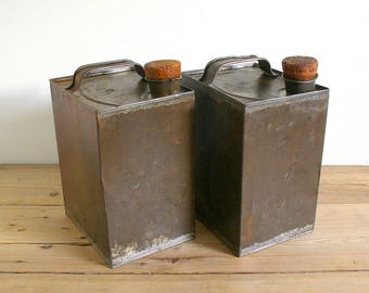 Vintage oil cans square industrial pair.Cork stoppers.Rustic metal container.Industrial decor.Primitive Metal canisters.collectible oil cans