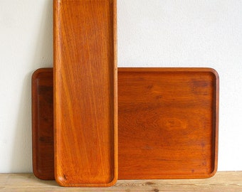 Vintage teak trays Midcentury modern.Serving tray wood.Karl Holmberg Götene.Retro barware.display tray.Home decor.1960s tray.Teak wood