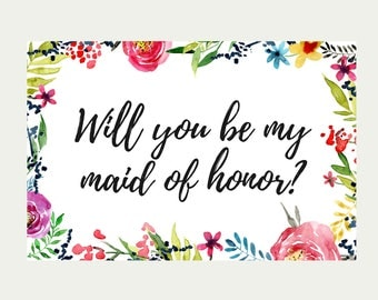 COMBO, Will You Be My Maid Of Honor, Will You Be My Matron Of Honor, Will You Be My Junior Bridesmaid, Will You Be My Flower Girl, Printable