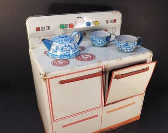 20% OFF SALE - Vintage Child's Wolverine Tin Stove, Play Kitchen, Pretend Play, Collectible Toy